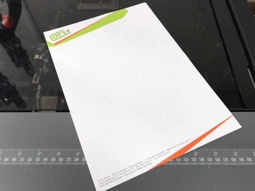 Impression de papier en-tête